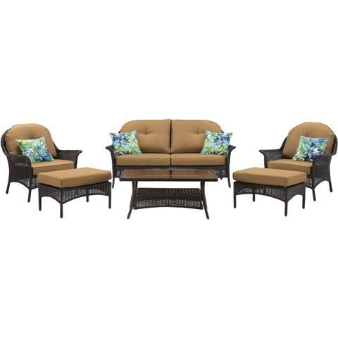 Hanover Sun Porch 6-Pc. Resin Lounge Set w/ Plush Country Cork Cushions