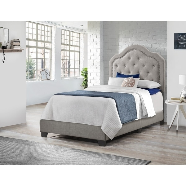 Fine Emerald Home Kieran Grey Traditional Nailhead Tufted Platform Bed Caraccident5 Cool Chair Designs And Ideas Caraccident5Info