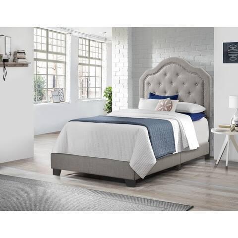 Emerald Home Kieran Grey Traditional Nailhead Tufted Platform Bed