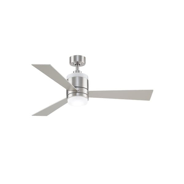 "Upright 48"" Ceiling Fan - Brushed Nickel with Reversible Blades & LED. Opens flyout."