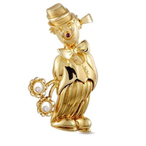 Chopard Vintage Yellow Gold Diamond and Gemstone Clown Brooch Pendant
