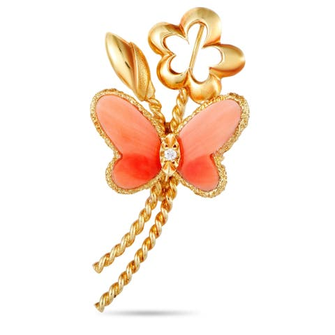 Van Cleef & Arpels Vintage Yellow Gold Diamond and Coral Butterfly Brooch
