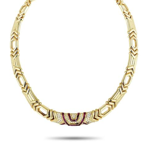 Boucheron Yellow Gold Diamond Pave and Ruby Collar Necklace