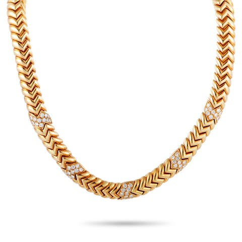 Bvlgari Spiga Rose Gold Diamond Necklace