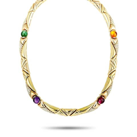 Bvlgari Yellow Gold Diamond, Amethyst, Tourmaline, and Citrine Choker Necklace