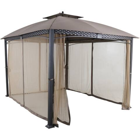 Aster Aluminum and Steel Gazebo with Mosquito Netting, Tan (9.8' D x 11.8' W x 9.7' H)