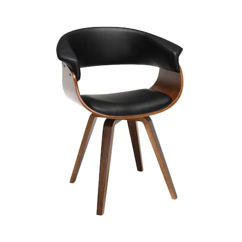 OFM 161 Collection Mid Century Modern Bentwood Frame Dining Chair with Flare Arms, Vinyl Back and Seat Cushion