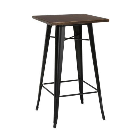 """OFM 161 Collection Industrial Modern 24"""" Square Bar Table with Footring, Wooden Tabletop with Galvanized Steel Frame"""