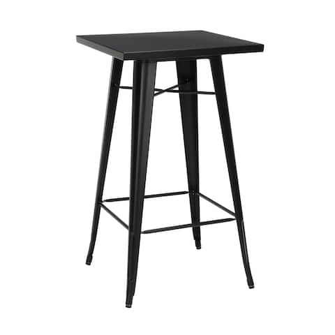 "OFM 161 Collection Industrial Modern 24"" Square Bar Table with Footring, Galvanized Steel Indoor/Outdoor Table"