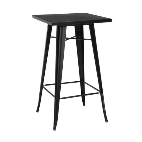 """OFM 161 Collection Industrial Modern 24"""" Square Bar Table with Footring, Galvanized Steel Indoor/Outdoor Table"""