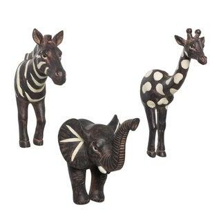 Safari Zebra Elephant Giraffe Wall Hooks SET OF 3 Bohemian Eclectic Whimsical Animal for Coats Kitchen Bathroom Towels