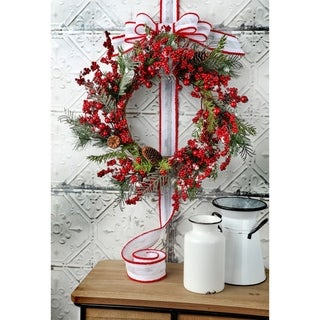 """Link to 22"""" Snow Waterproof  Berry Spruce Wreath Similar Items in Christmas Decorations"""