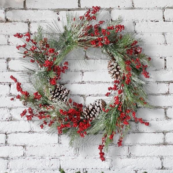 "22"" Waterproof Berry Pine/Cedar W/Cones Wreath. Opens flyout."