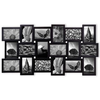 Photo Frame 17x33 Black Picture Frame Selfie Gallery Collage Wall Hanging for 6x4 Photo - 18 Photo Sockets - N/A