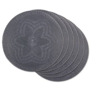 DII Gray Floral Woven Round Placemat Set/6