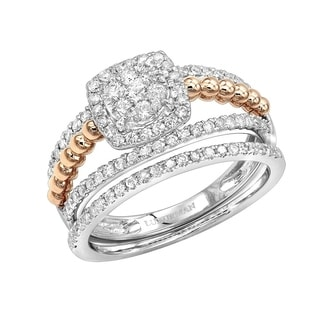Luxurman 14K Gold Affordable Halo Diamond Engagement Ring And Wedding Band Set 0 8ct