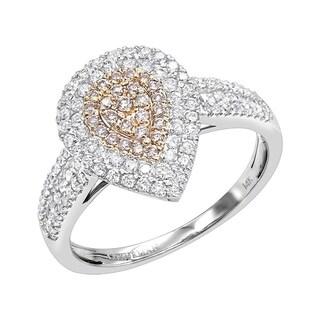 Link to Luxurman Teardrop 14K Gold White Pink Diamond Engagement Ring 0.8ct Similar Items in Wedding Rings