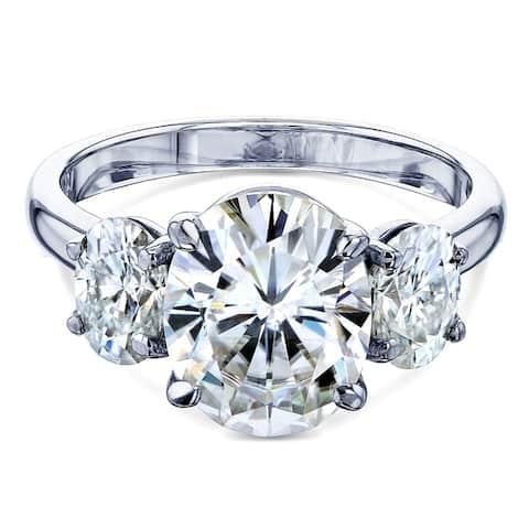 Annello by Kobelli 14k Gold 4ct TGW Oval Moissanite Engagement Ring