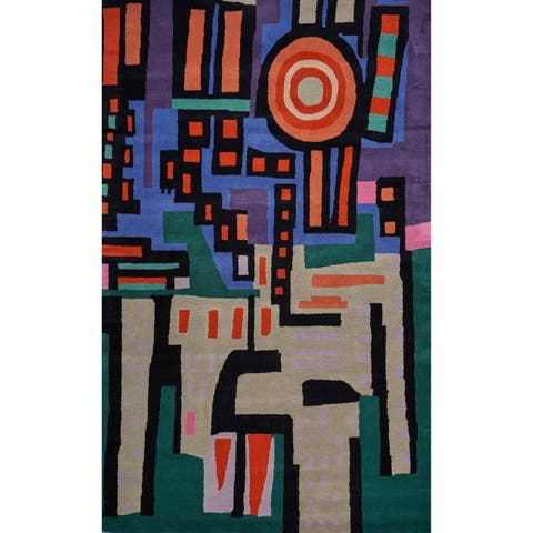 City Scape Multi Tufted Wool Area Rug (5x8) - 5'x8'