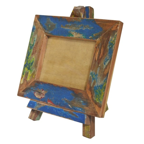 Blue and Brown 16-inch Repurposed Wood Photo Frame with Easel Stand