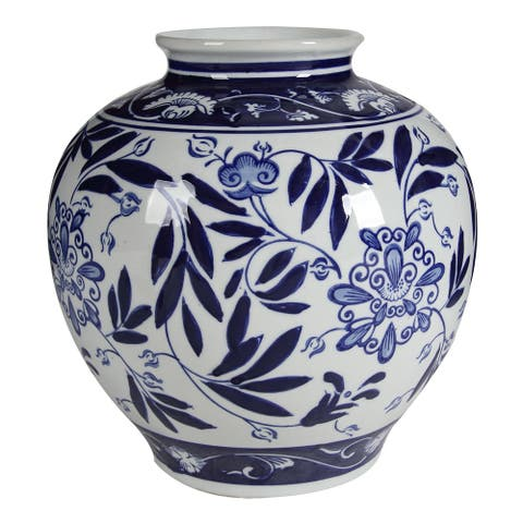 A&B Home Aline 9-inch Gloss Blue and White Vase