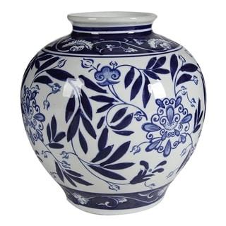 Aline 9-inch Gloss Blue and White Vase