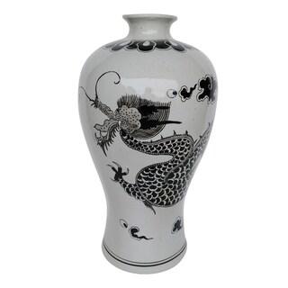 Dorete 24-inch Black and White Urn Vase