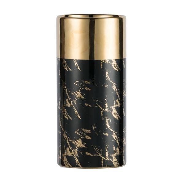 Modern Chic 12-inch Gloss Black and Gold Ceramic Vase