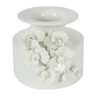 Glossy White Floral Vase