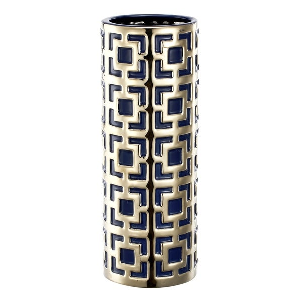 Malika 16-inch Gold and Blue Vase