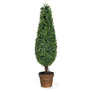 Green 35-inch Faux Boxwood Tree