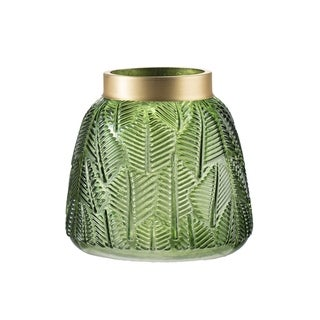 Green and Gold 6-inch Fern Leaf Glass Vase