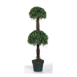 Green 35-inch Two-Tier Potted Boxwood Topiary