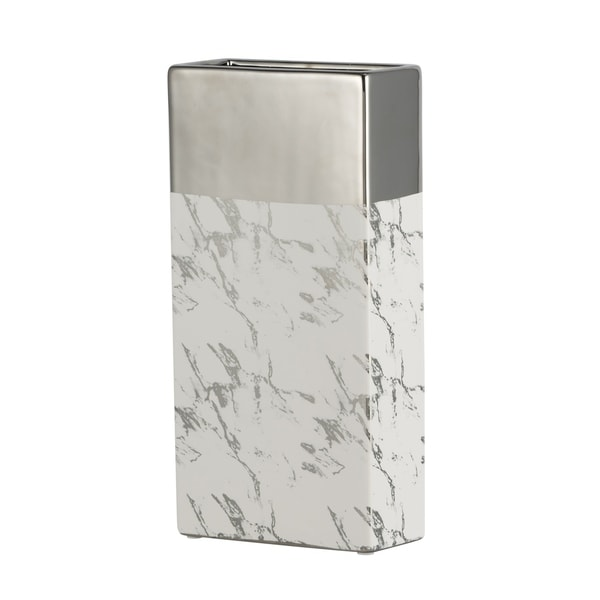 Modern Chic 12-inch Silver and White Tall Ceramic Vase