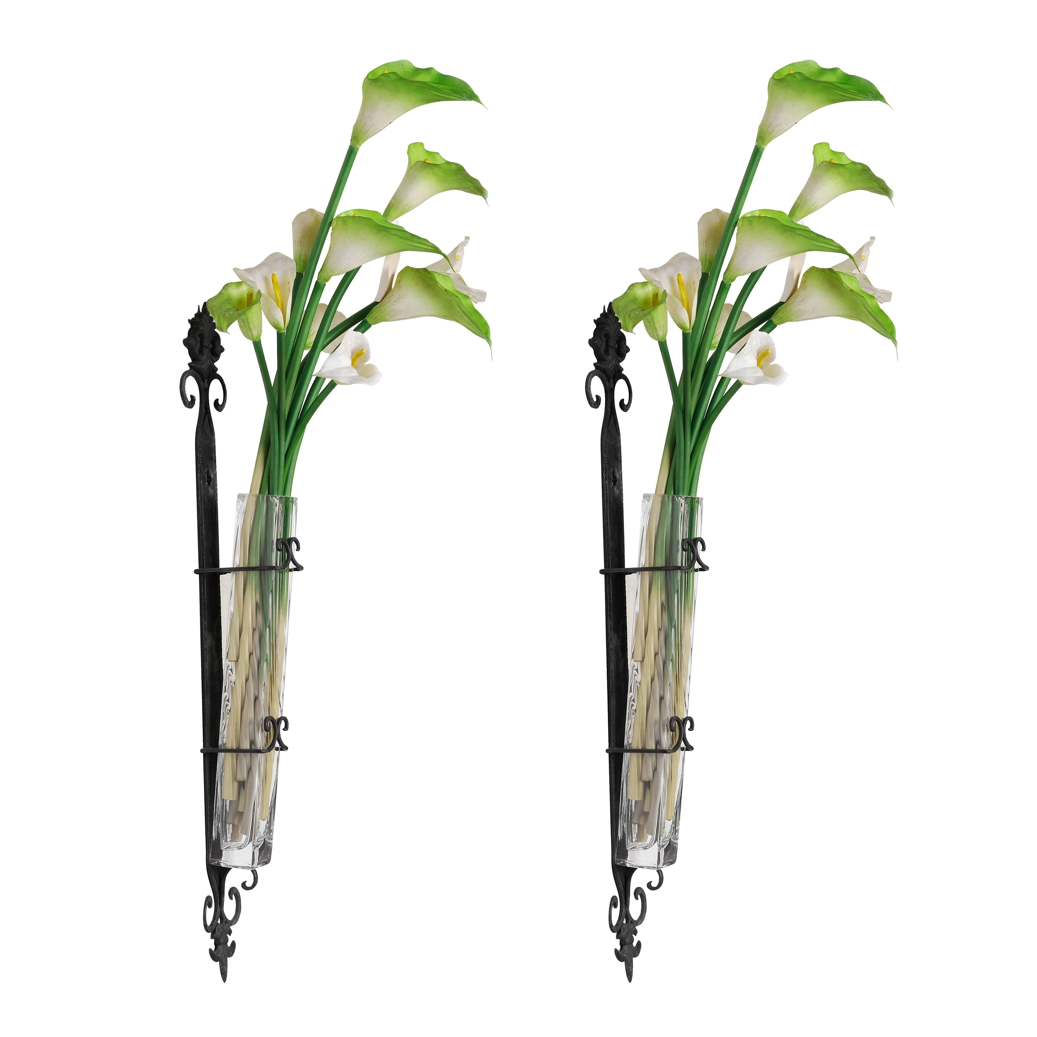Wendell 29 Inch Black And Clear Wall Mounted Bud Vase Set Of Two