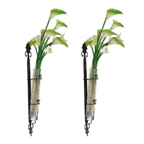 A&B Home Wendell 29-inch Black and Clear Wall-Mounted Bud Vase (Set of 2)
