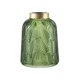Green and Gold 8-inch Fern Leaf Glass Vase
