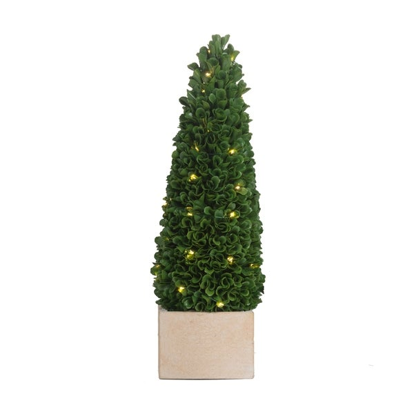Green 16-inch Faux Boxwood Potted Topiary Tree with Lights. Opens flyout.