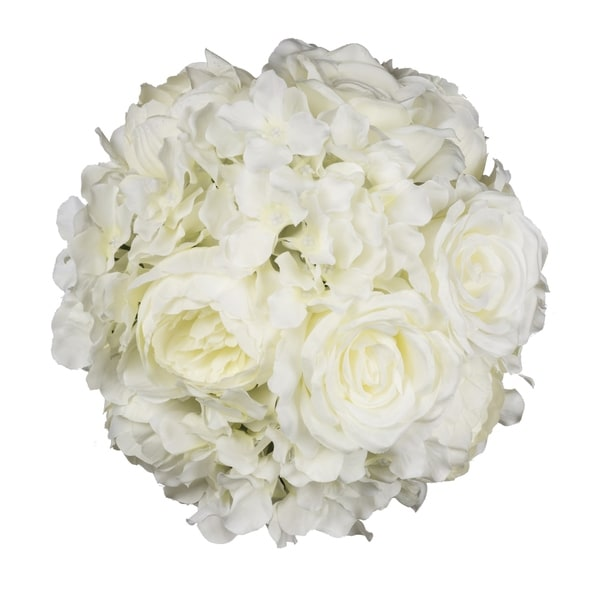 Cream 10-inch Peony, Hydrangea, and Rose Mixed Ball