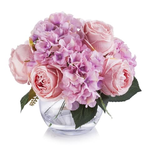 Enova Home Pink Artificial Silk Hydrangea and Peony Fake Flowers Arrangement in Clear White Vase with Faux Water for Home Decor