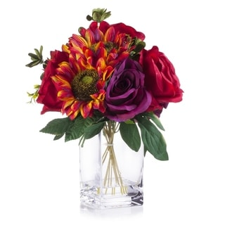 Enova Home Red and Purple Silk Rose and Sunflower Mixed Arrangement in Clear White Vase with Faux Water