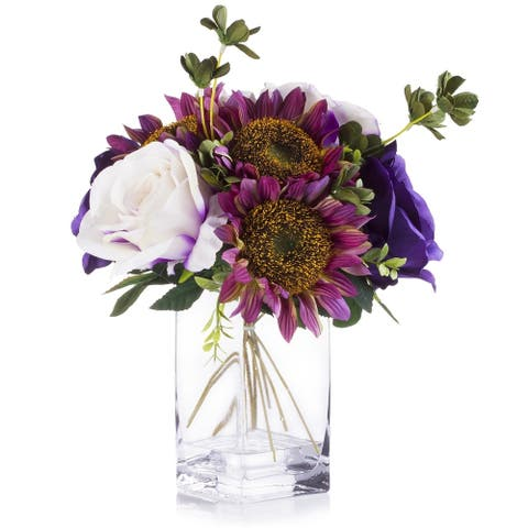 Enova Home White and Purple Silk Rose and Sunflower Mixed Arrangement in Clear White Vase with Faux Water
