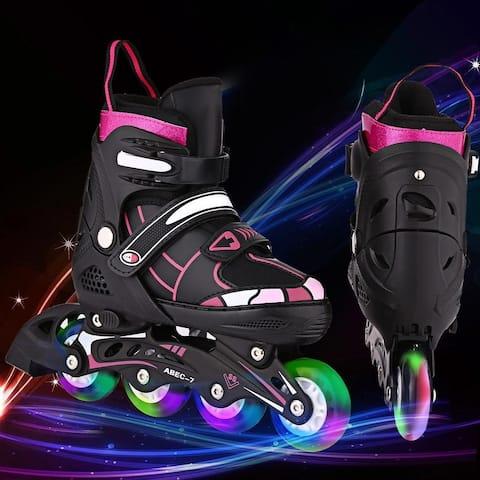Ancheer Unisex Indoor Outdoor Roller Children Tracer Adjustable Flash Wheel Inline Skate