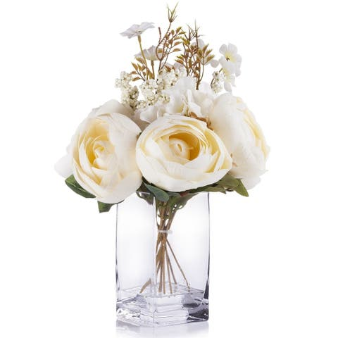 Enova Home Beige Peony and Hydrangea Mixed Silk Flower Arrangement in Clear White Vase with Faux Water