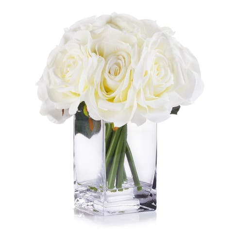 Enova Home Cream Open Roses Silk Flower Arrangement in Clear White Vase with Faux Water For Home Wedding Centerpiece