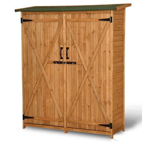 MCombo 64inch Tall Fir Wooden Shed Garden Storage Sheds Tool Shed Organizer Double Doors with Lockable Cabinet 1400