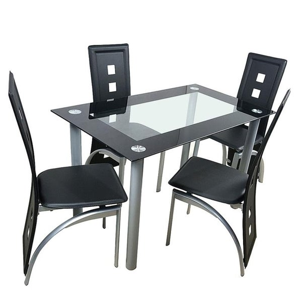 5-Piece Porch & Den Matthew Faux Leather Chair and Glass Table Dining Set