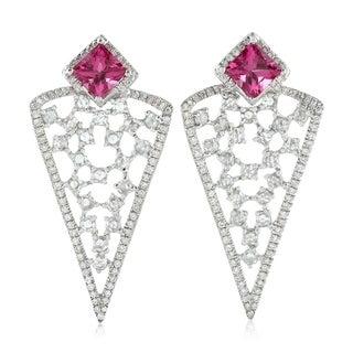 18Kt Gold Diamond Geometric Tourmaline Stud Earring Gemstone Jewelry