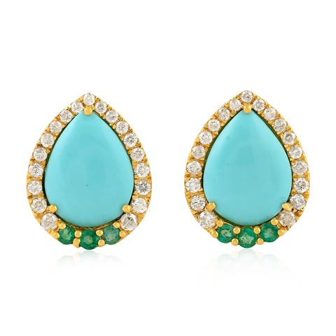 18Kt Gold Diamond Designer Emerald Turquoise Stud Earring Gemstone Jewelry