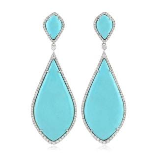 18Kt Gold Diamond Designer Turquoise Dangle Earring Gemstone Jewelry